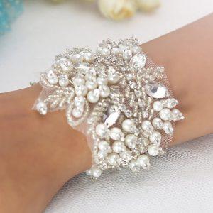 Bridal Cuff Trim | Jeanette Hand Beaded Bridal Cuff
