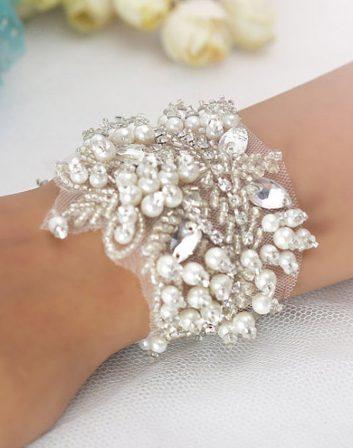 Bridal Cuff Trim   Jeanette Hand Beaded Bridal Cuff